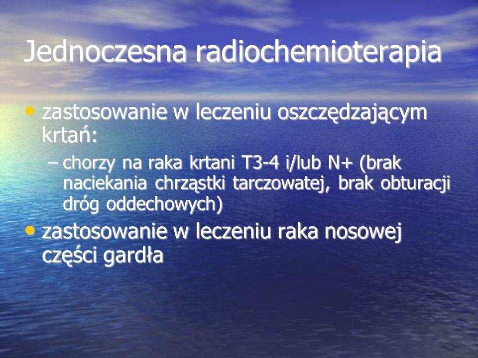 Jednoczesna radiochemioterapia zastosowanie w leczeniu oszczędzającym krtań: zastosowanie w leczeniu oszczędzającym krtań: –chorzy na raka krtani T3-4