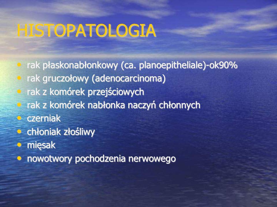 HISTOPATOLOGIA rak płaskonabłonkowy (ca. planoepitheliale)-ok90% rak płaskonabłonkowy (ca. planoepitheliale)-ok90% rak gruczołowy (adenocarcinoma) rak
