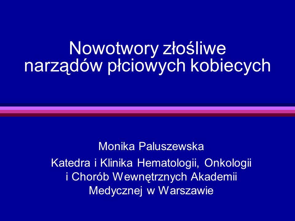 Nowotwory złośliwe narządów płciowych kobiecych Monika Paluszewska Katedra i Klinika Hematologii, Onkologii i Chorób Wewnętrznych Akademii Medycznej w