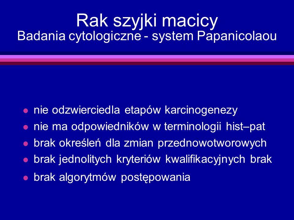 Rak szyjki macicy Badania cytologiczne - system Papanicolaou l nie odzwierciedla etapów karcinogenezy l nie ma odpowiedników w terminologii hist–pat l