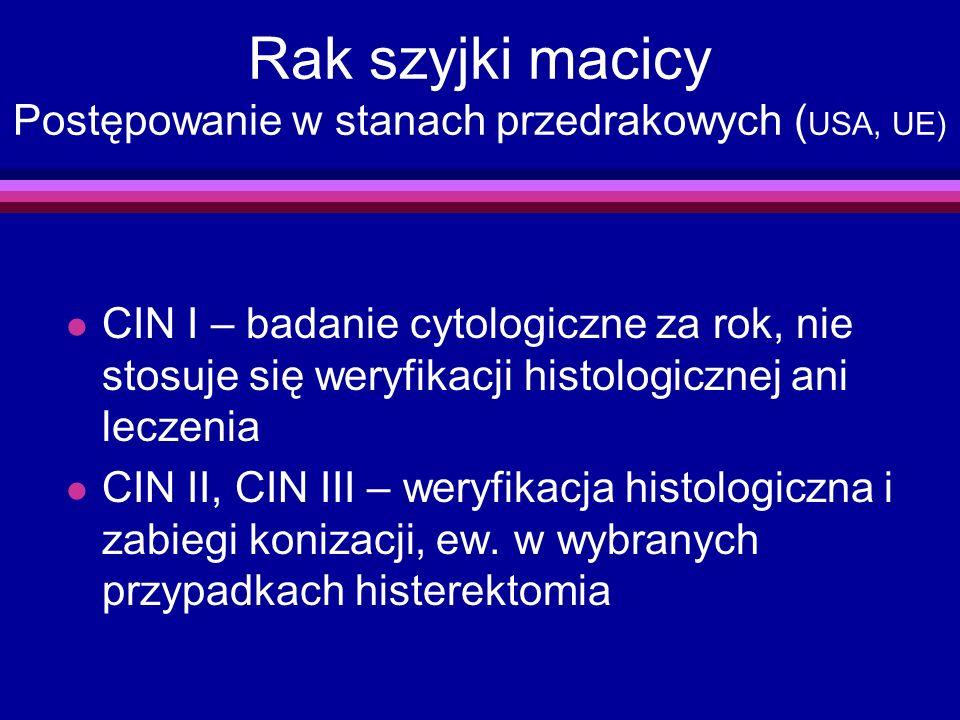 Rak szyjki macicy Postępowanie w stanach przedrakowych ( USA, UE) l CIN I – badanie cytologiczne za rok, nie stosuje się weryfikacji histologicznej an