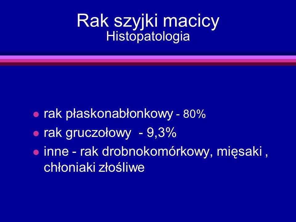 Rak szyjki macicy Histopatologia l rak płaskonabłonkowy - 80% l rak gruczołowy - 9,3% l inne - rak drobnokomórkowy, mięsaki, chłoniaki złośliwe