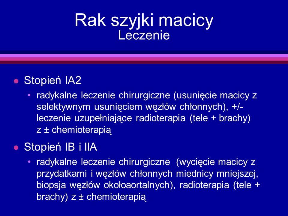 Rak szyjki macicy Leczenie l Stopień IA2 radykalne leczenie chirurgiczne (usunięcie macicy z selektywnym usunięciem węzłów chłonnych), +/- leczenie uz