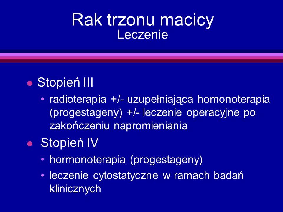 Rak trzonu macicy Leczenie l Stopień III radioterapia +/- uzupełniająca homonoterapia (progestageny) +/- leczenie operacyjne po zakończeniu napromieni