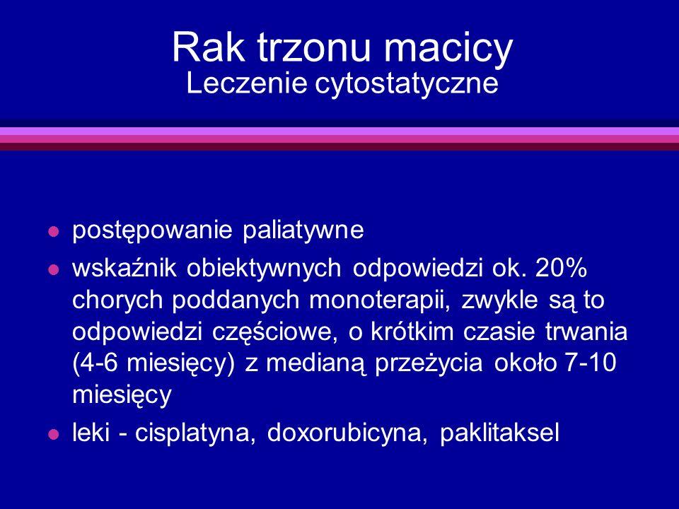 Rak trzonu macicy Leczenie cytostatyczne l postępowanie paliatywne l wskaźnik obiektywnych odpowiedzi ok. 20% chorych poddanych monoterapii, zwykle są