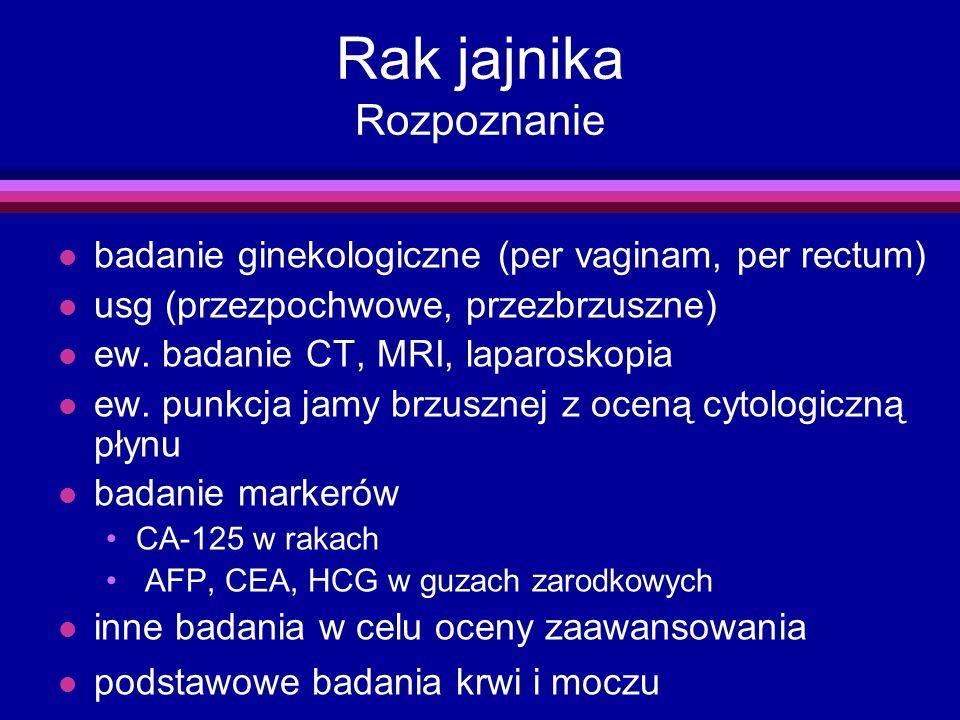 Rak jajnika Rozpoznanie badanie ginekologiczne (per vaginam, per rectum) l usg (przezpochwowe, przezbrzuszne) l ew. badanie CT, MRI, laparoskopia l ew