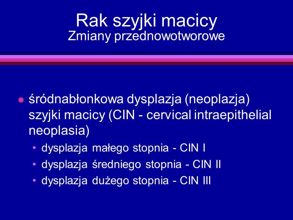 Rak szyjki macicy Zmiany przednowotworowe l śródnabłonkowa dysplazja (neoplazja) szyjki macicy (CIN - cervical intraepithelial neoplasia) dysplazja ma