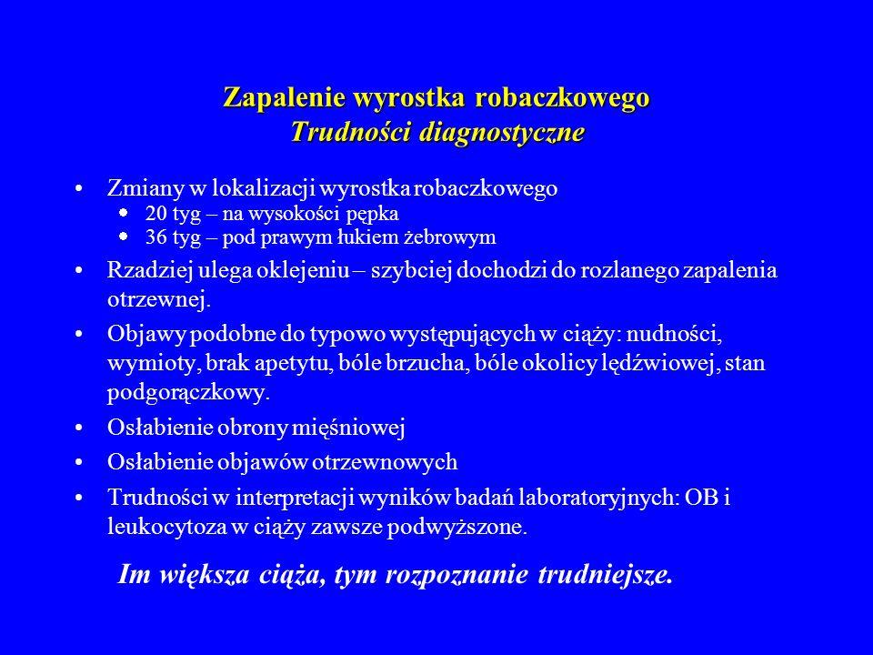 Zapalenie wyrostka robaczkowego Różnicowanie Odmiedniczkowe zapalenie nerek (zmiany w badaniu ogólnym moczu, dodatni objaw Goldflama) Ostre zapalenie pęcherzyka żółciowego (ból promieniuje do prawego ramienia) Ostre zapalenie trzustki (podwyższone poziomy diastazy) Ostra niedrożność jelit Wątpliwości diagnostyczne: laparotomia zwiadowcza.