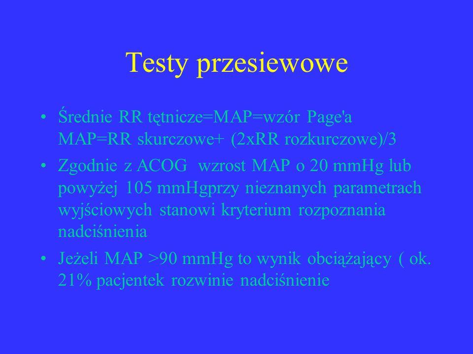 Testy przesiewowe Średnie RR tętnicze=MAP=wzór Page'a MAP=RR skurczowe+ (2xRR rozkurczowe)/3 Zgodnie z ACOG wzrost MAP o 20 mmHg lub powyżej 105 mmHgp