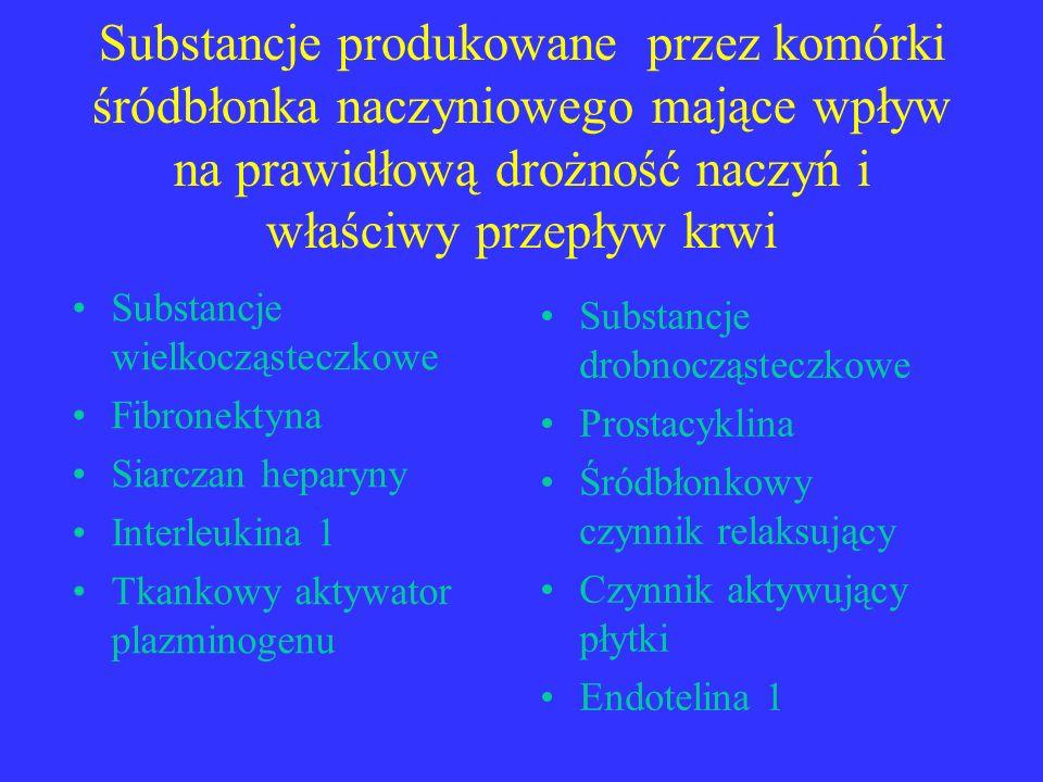 Substancje produkowane przez komórki śródbłonka naczyniowego mające wpływ na prawidłową drożność naczyń i właściwy przepływ krwi Substancje wielkocząs