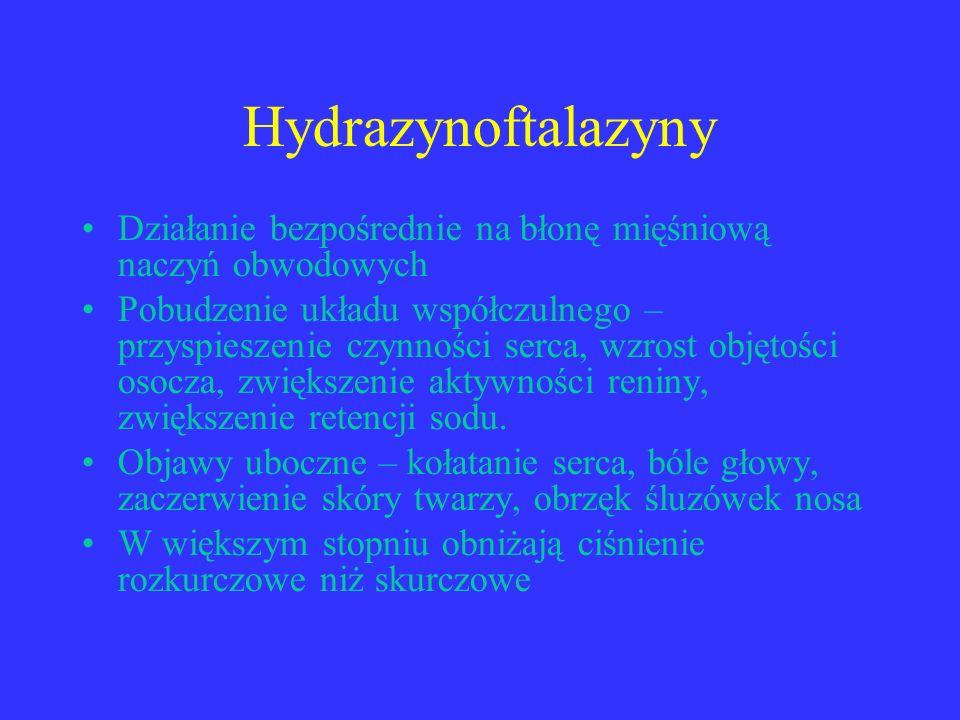 Hydrazynoftalazyny Działanie bezpośrednie na błonę mięśniową naczyń obwodowych Pobudzenie układu współczulnego – przyspieszenie czynności serca, wzros