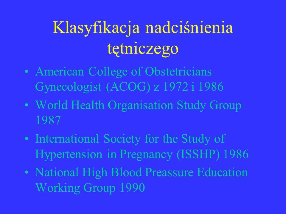 Klasyfikacja nadciśnienia tętniczego American College of Obstetricians Gynecologist (ACOG) z 1972 i 1986 World Health Organisation Study Group 1987 In