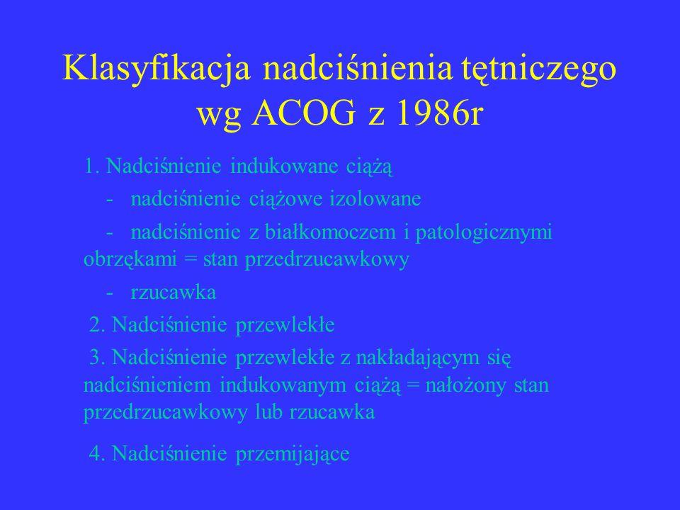 Klasyfikacja nadciśnienia tętniczego wg ACOG z 1986r 1. Nadciśnienie indukowane ciążą - nadciśnienie ciążowe izolowane - nadciśnienie z białkomoczem i