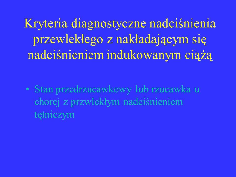 Kryteria diagnostyczne nadciśnienia przewlekłego z nakładającym się nadciśnieniem indukowanym ciążą Stan przedrzucawkowy lub rzucawka u chorej z przwl