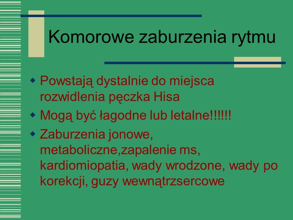 Komorowe zaburzenia rytmu  Powstają dystalnie do miejsca rozwidlenia pęczka Hisa  Mogą być łagodne lub letalne!!!!!!  Zaburzenia jonowe, metabolicz