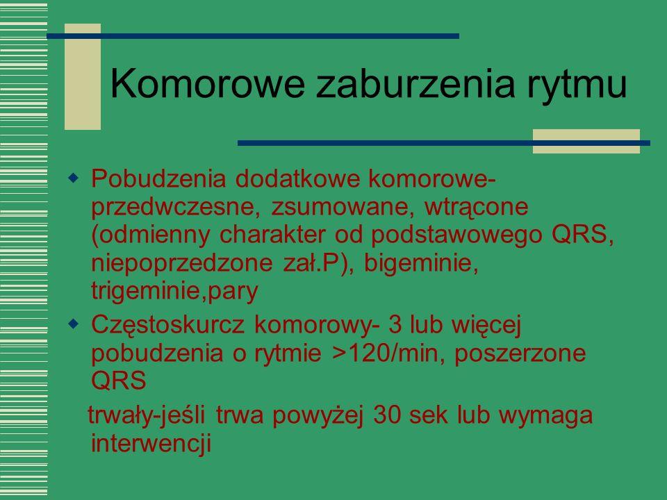 Komorowe zaburzenia rytmu  Pobudzenia dodatkowe komorowe- przedwczesne, zsumowane, wtrącone (odmienny charakter od podstawowego QRS, niepoprzedzone z