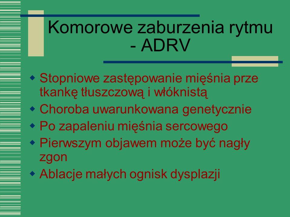 Komorowe zaburzenia rytmu - ADRV  Stopniowe zastępowanie mięśnia prze tkankę tłuszczową i włóknistą  Choroba uwarunkowana genetycznie  Po zapaleniu