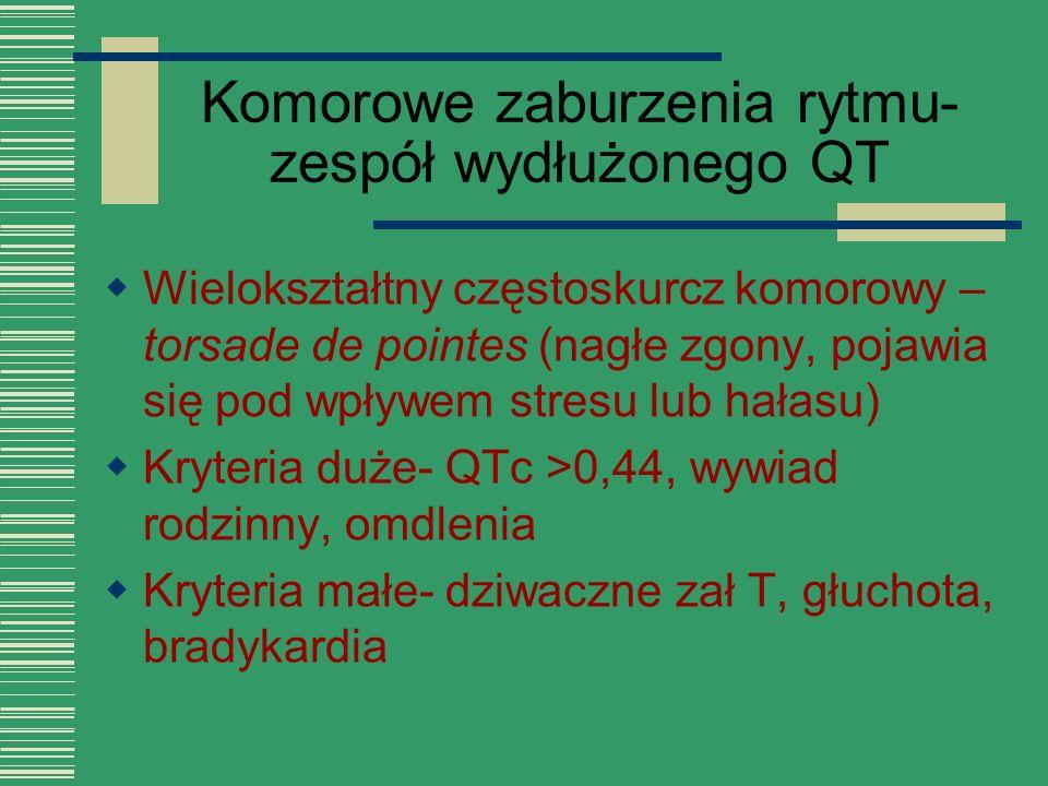 Komorowe zaburzenia rytmu- zespół wydłużonego QT  Wielokształtny częstoskurcz komorowy – torsade de pointes (nagłe zgony, pojawia się pod wpływem str