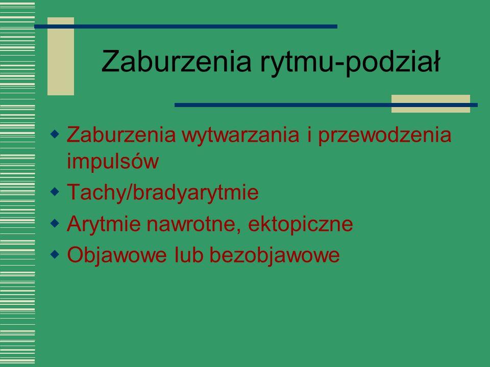 Zaburzenia rytmu-podział  Zaburzenia wytwarzania i przewodzenia impulsów  Tachy/bradyarytmie  Arytmie nawrotne, ektopiczne  Objawowe lub bezobjawo