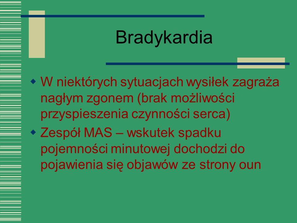 Bradykardia  W niektórych sytuacjach wysiłek zagraża nagłym zgonem (brak możliwości przyspieszenia czynności serca)  Zespół MAS – wskutek spadku poj