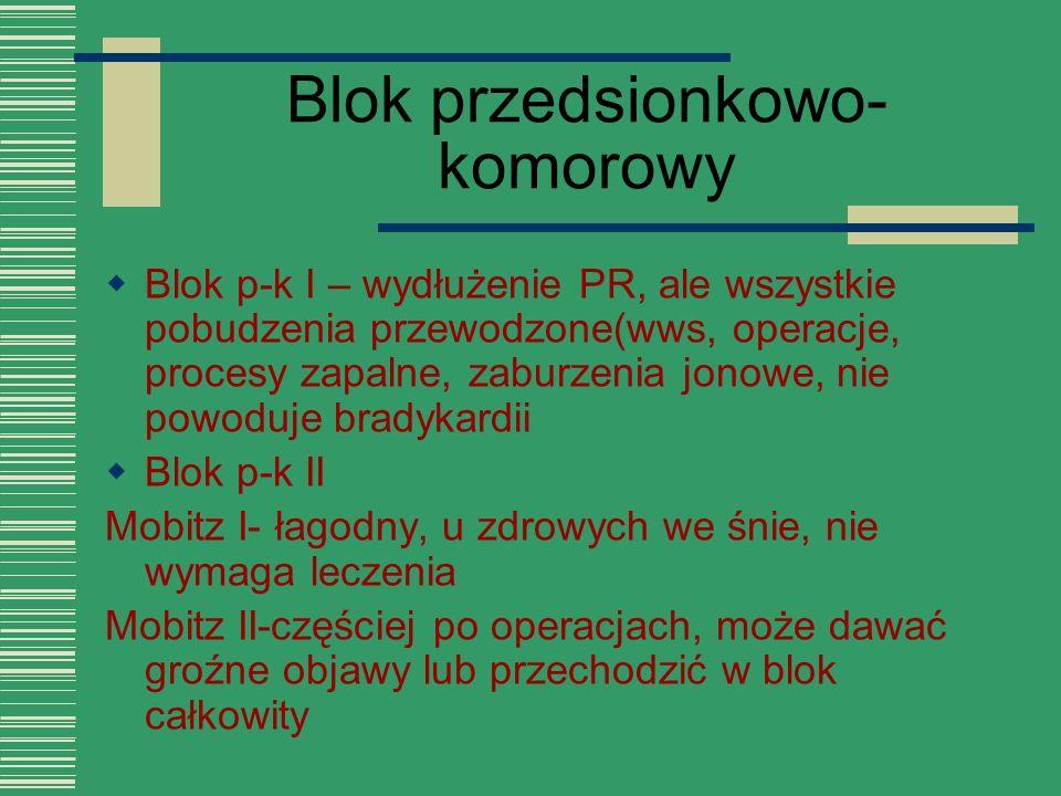 Blok przedsionkowo- komorowy  Blok p-k I – wydłużenie PR, ale wszystkie pobudzenia przewodzone(wws, operacje, procesy zapalne, zaburzenia jonowe, nie
