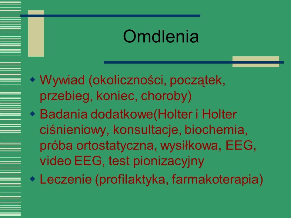 Omdlenia  Wywiad (okoliczności, początek, przebieg, koniec, choroby)  Badania dodatkowe(Holter i Holter ciśnieniowy, konsultacje, biochemia, próba o