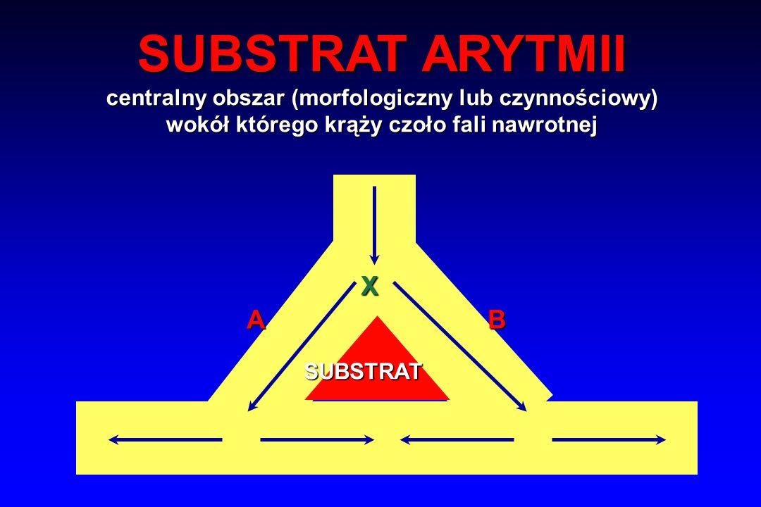 X AB SUBSTRAT ARYTMII centralny obszar (morfologiczny lub czynnościowy) wokół którego krąży czoło fali nawrotnej SUBSTRAT