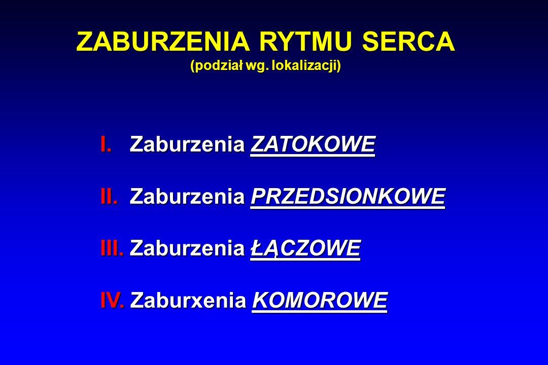 ZABURZENIA RYTMU SERCA (podział wg. lokalizacji) I.