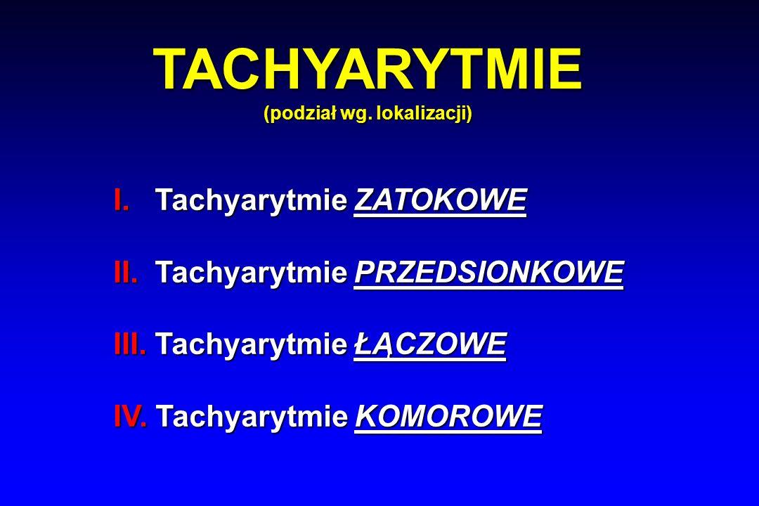 TACHYARYTMIE (podział wg. lokalizacji) I. Tachyarytmie ZATOKOWE II.