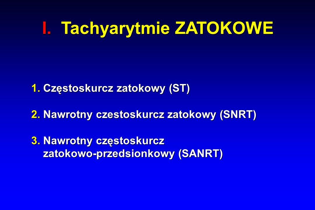 I. Tachyarytmie ZATOKOWE 1. Częstoskurcz zatokowy (ST) 2.