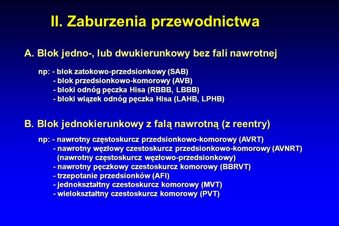 II. Zaburzenia przewodnictwa A. Blok jedno-, lub dwukierunkowy bez fali nawrotnej B.