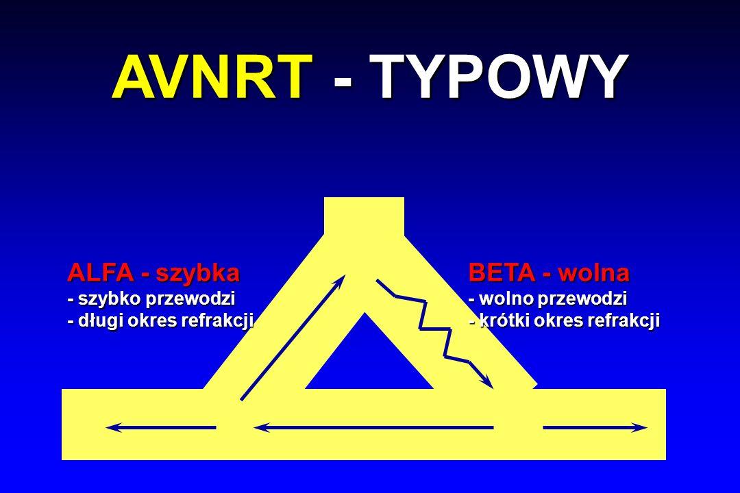 ALFA - szybka - szybko przewodzi - długi okres refrakcji BETA - wolna - wolno przewodzi - krótki okres refrakcji AVNRT - TYPOWY