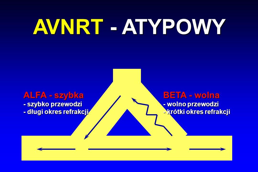 ALFA - szybka - szybko przewodzi - długi okres refrakcji BETA - wolna - wolno przewodzi - krótki okres refrakcji AVNRT - ATYPOWY