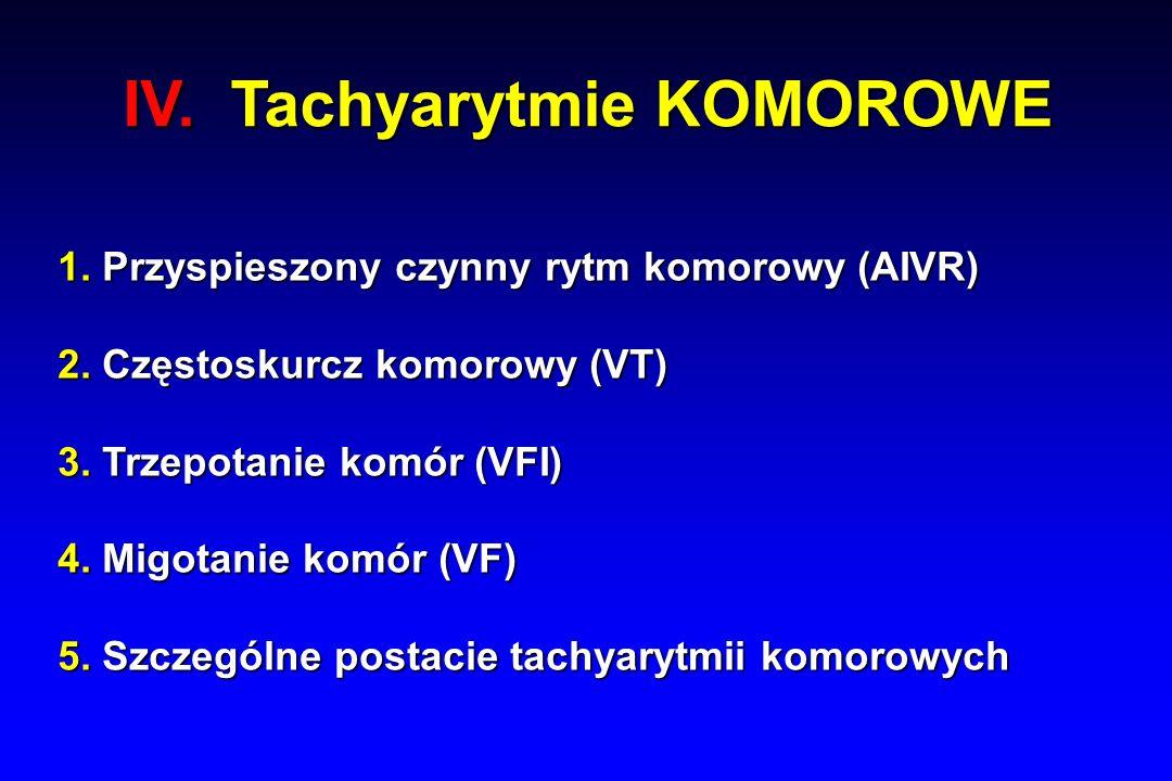 IV. Tachyarytmie KOMOROWE 1. Przyspieszony czynny rytm komorowy (AIVR) 2.