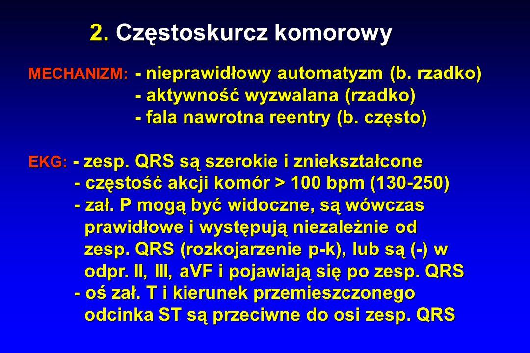 2. Częstoskurcz komorowy MECHANIZM: - nieprawidłowy automatyzm (b.