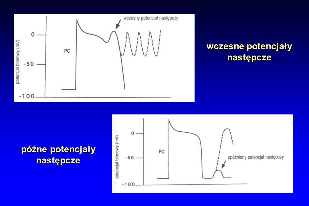 Częstoskurcz dwukierunkowy EKG: - naprzemienne występowanie dodatnich i ujemnych zesp.