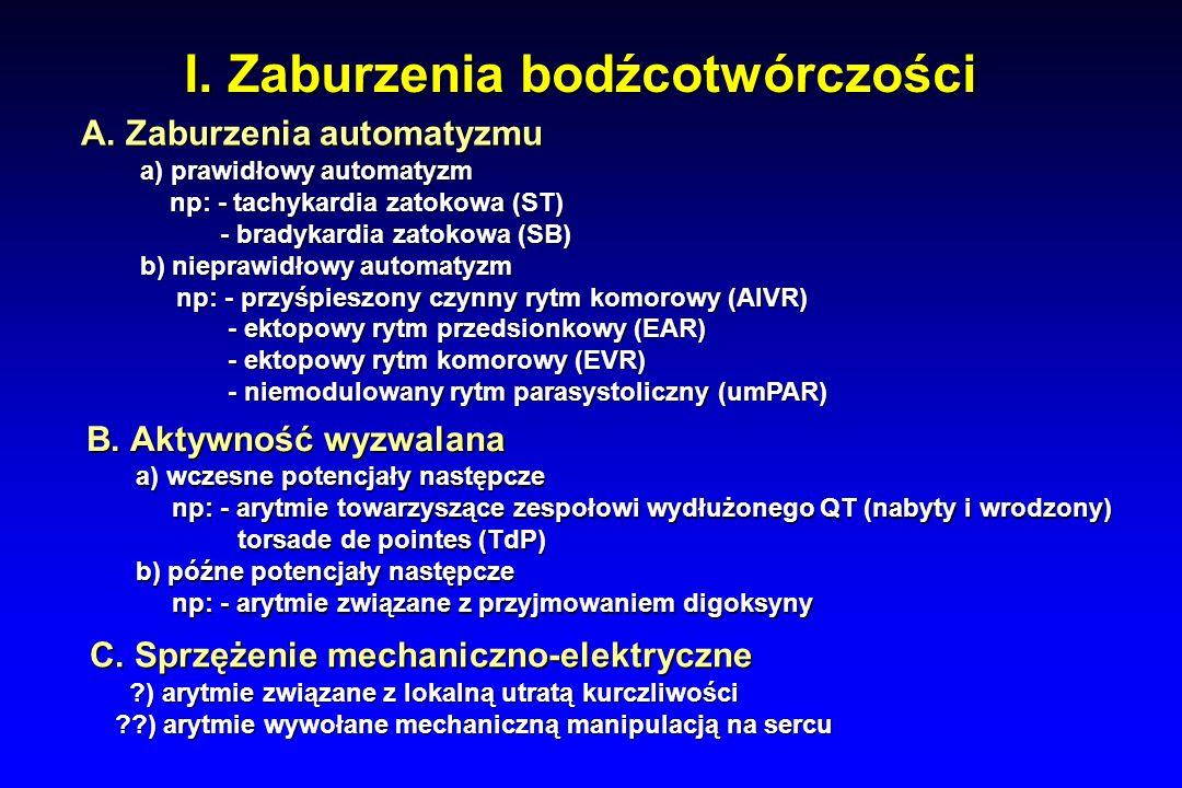 Leczenie farmakologiczne Klasa IV Nazwa leku Wpływ na potencjał czynnościowy Wskazania WłaściwościelektrofizjologiczneDziałaniauboczne WerapamilDilitiazem Zwolnienie narastania fazy 0 potencjału czyn- nościowego komórek rozrusznikowych (w węźle ZP i PK) Zwolnienie narastania fazy 0 potencjału czyn- nościowego komórek rozrusznikowych (w węźle ZP i PK) 0 3 4 4 Zwolnienie akcji serca Zwolnienie akcji serca Zwolnienie przewo- dzenia w węźle PK Zwolnienie przewo- dzenia w węźle PK AF, AFl z szybką akcją komór AF, AFl z szybką akcją komór AVNRT AVNRT Ortodromowy AVRT OSTROŻNIE- tylko gdy jesteś pewien, że to nie antydromowy AVRT lub AF/AFl w zespole WPW Ortodromowy AVRT OSTROŻNIE- tylko gdy jesteś pewien, że to nie antydromowy AVRT lub AF/AFl w zespole WPW Bradykardia zatokowa Bradykardia zatokowa Bloki A-V Bloki A-V Spadek ciśnienia tetniczego Spadek ciśnienia tetniczego