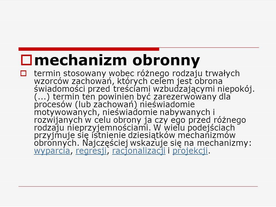 Klasyfikacja mechanizmów obronnych osobowości wg P.