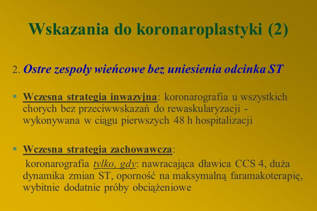 Wskazania do koronaroplastyki (1) 1. Stabilna choroba wieńcowa l nieskuteczność lub niepełna skuteczność farmakoterapii l mała rezerwa wieńcowa -wg. o