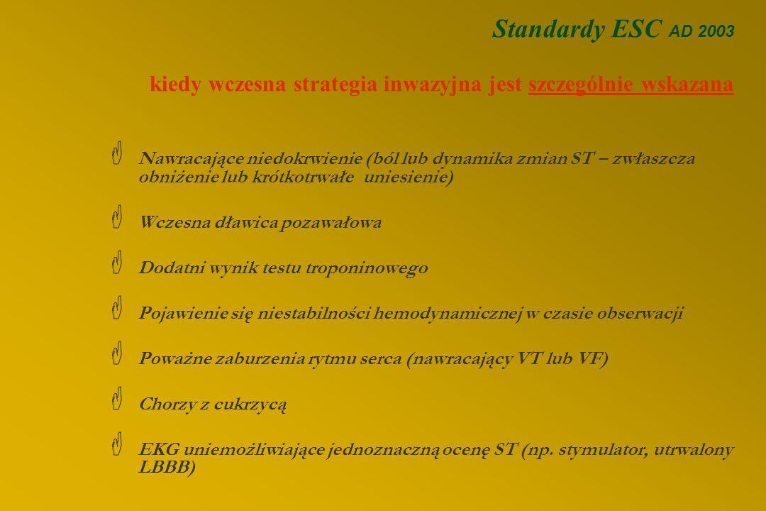 Wskazania do koronaroplastyki (2) 2. Ostre zespoły wieńcowe bez uniesienia odcinka ST §Wczesna strategia inwazyjna: koronarografia u wszystkich choryc