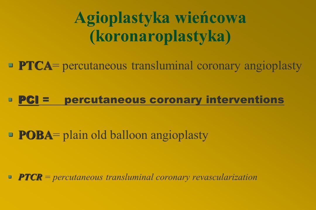 REWASKULARYZACJA W LECZENIU CHOROBY WIEŃCOWEJ Angioplastyka wieńcowa