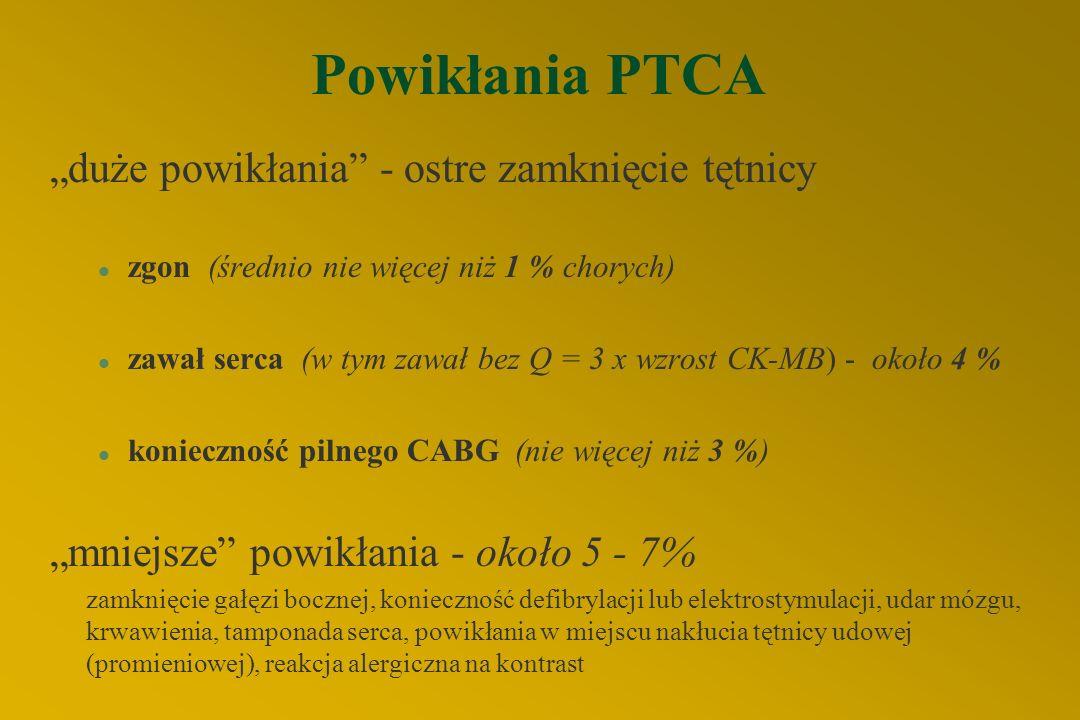 Przeciwwskazania do PTCA a) bezwzględne §zwężenie < 50 % średnicy naczynia §rozsiane zwężenia tętnicy §istotne zwężenia pnia, przy braku drożnego pomo