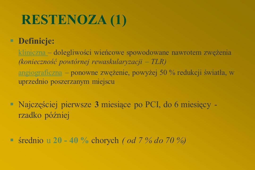 Farmakoterapia w okresie okołozabiegowym PCI (2) 1. Kwas acetylosalicylowy - dawki standardowe 2. klopidogrel - 300 (600)mg – dawka nasycająca i nastę