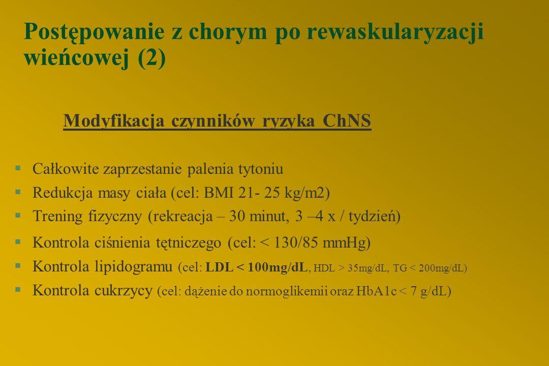 Postępowanie z chorym po rewaskularyzacji wieńcowej (1)  Wykonywanie testów obciążeniowych rutynowo, u wszystkich chorych po zabiegach, nie jest obec