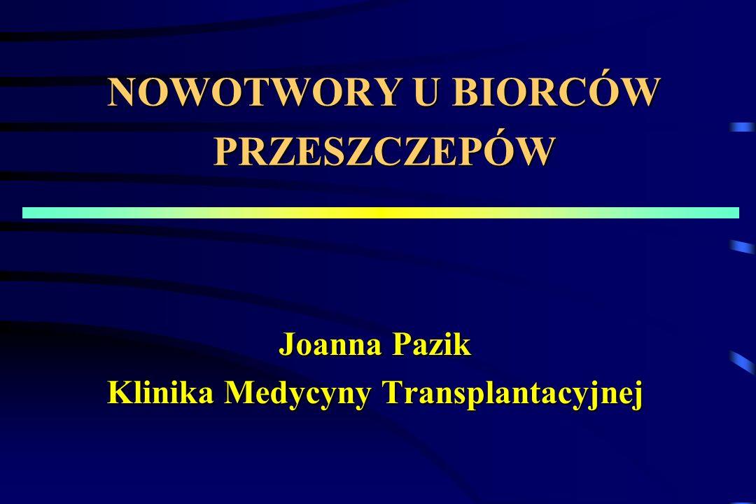 NOWOTWORY U BIORCÓW PRZESZCZEPÓW Joanna Pazik Klinika Medycyny Transplantacyjnej