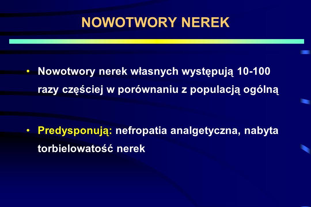 NOWOTWORY NEREK Nowotwory nerek własnych występują 10-100 razy częściej w porównaniu z populacją ogólną Predysponują: nefropatia analgetyczna, nabyta torbielowatość nerek