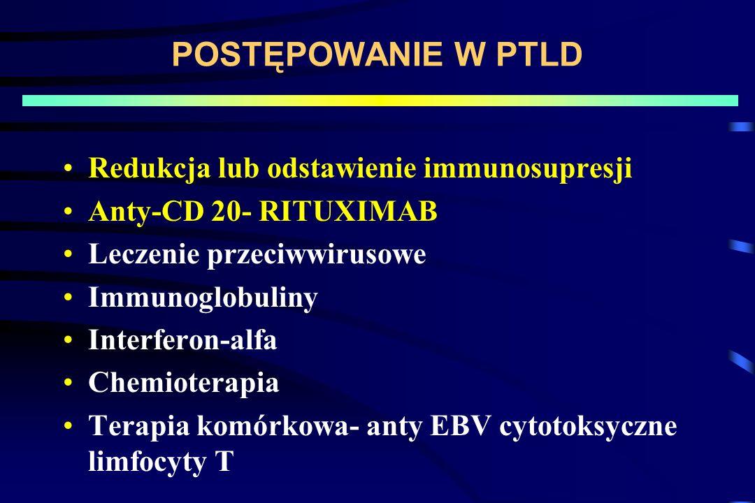 POSTĘPOWANIE W PTLD Redukcja lub odstawienie immunosupresji Anty-CD 20- RITUXIMAB Leczenie przeciwwirusowe Immunoglobuliny Interferon-alfa Chemioterapia Terapia komórkowa- anty EBV cytotoksyczne limfocyty T