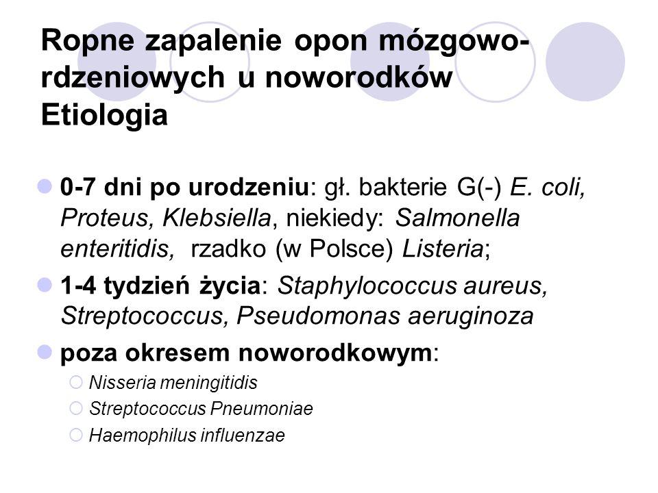 Ropne zapalenie opon mózgowo- rdzeniowych u noworodków Etiologia 0-7 dni po urodzeniu: gł. bakterie G(-) E. coli, Proteus, Klebsiella, niekiedy: Salmo