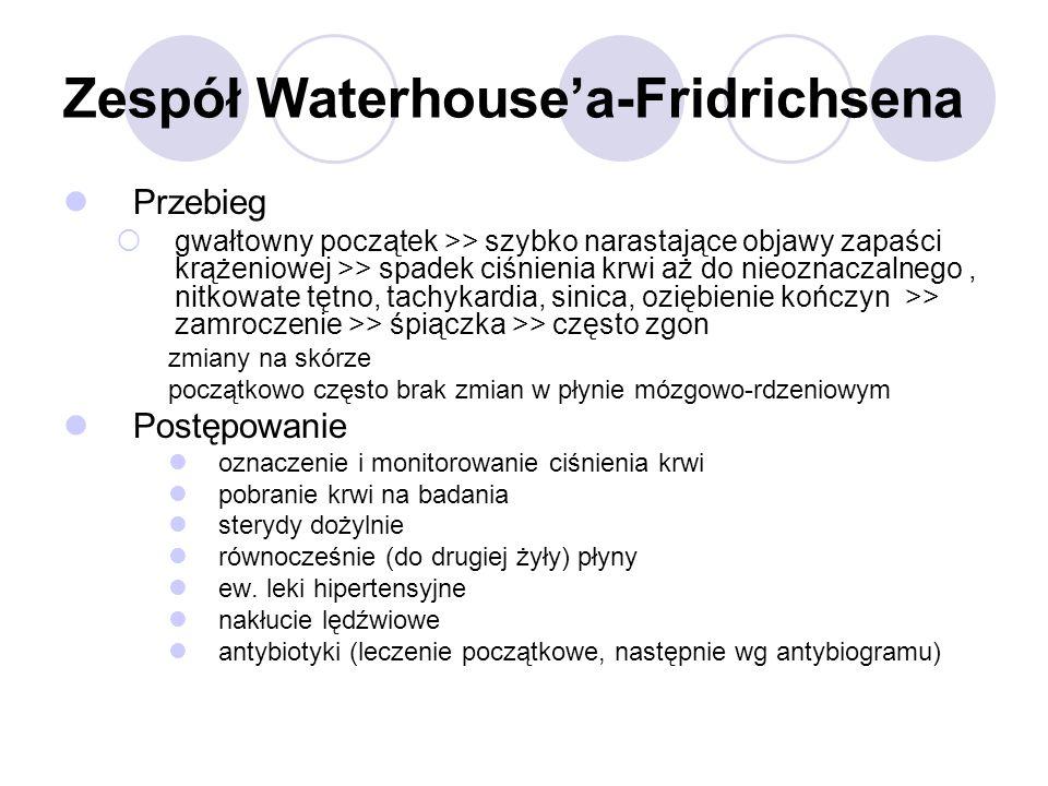 Zespół Waterhouse'a-Fridrichsena Przebieg  gwałtowny początek >> szybko narastające objawy zapaści krążeniowej >> spadek ciśnienia krwi aż do nieozna