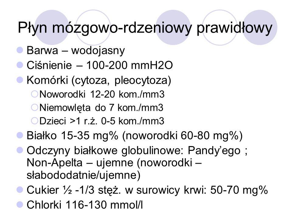 Płyn mózgowo-rdzeniowy prawidłowy Barwa – wodojasny Ciśnienie – 100-200 mmH2O Komórki (cytoza, pleocytoza)  Noworodki 12-20 kom./mm3  Niemowlęta do
